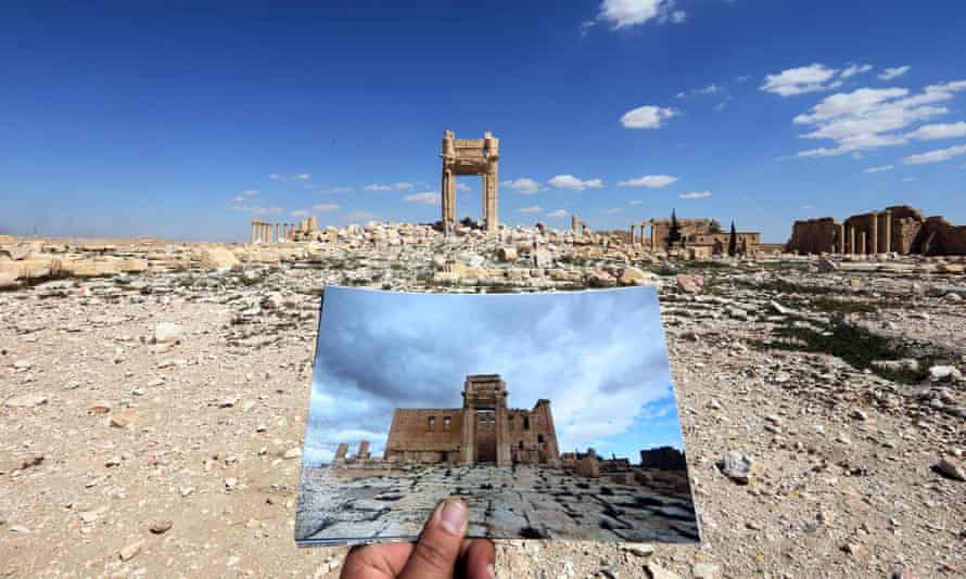 A photo of the Temple of Bel taken in March 2014, in front of the remains of the temple after it was destroyed by Isis in 2015