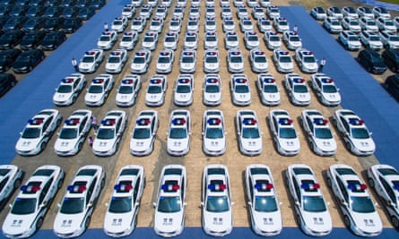 New police cars and other vehicles assigned for the upcoming G20 Hangzhou Summit. The city is being cleaned up and revamped for the visit of world leaders.