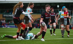Hannah Botterman celebrates touching down a try for Saracens during the Premier 15s final.