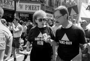 Aids and trans activist Connie Norman with Robert Birch. Harry Hay is in the background.