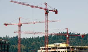 Construction cranes at project site in the Pearl District Portland Oregon