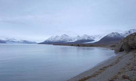 A beach at the Ny-Aalesund research station on the Arctic archipelago of Svalbard
