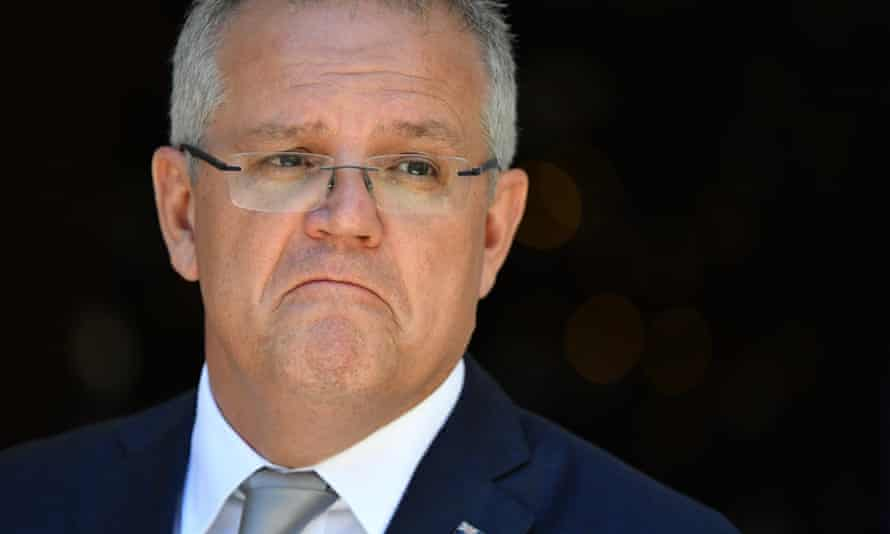 Scott Morrison at a press conference earlier on Wednesday after the repeal of the medevac law, which allowed for the transfer of critically sick refugees and asylum seekers from PNG and Nauru to Australia.
