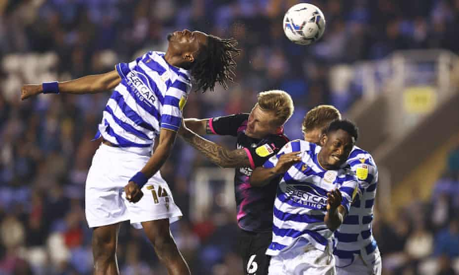 Reading's Ovie Ejaria jumps highest for a header against Peterborough in a Championship match this month.