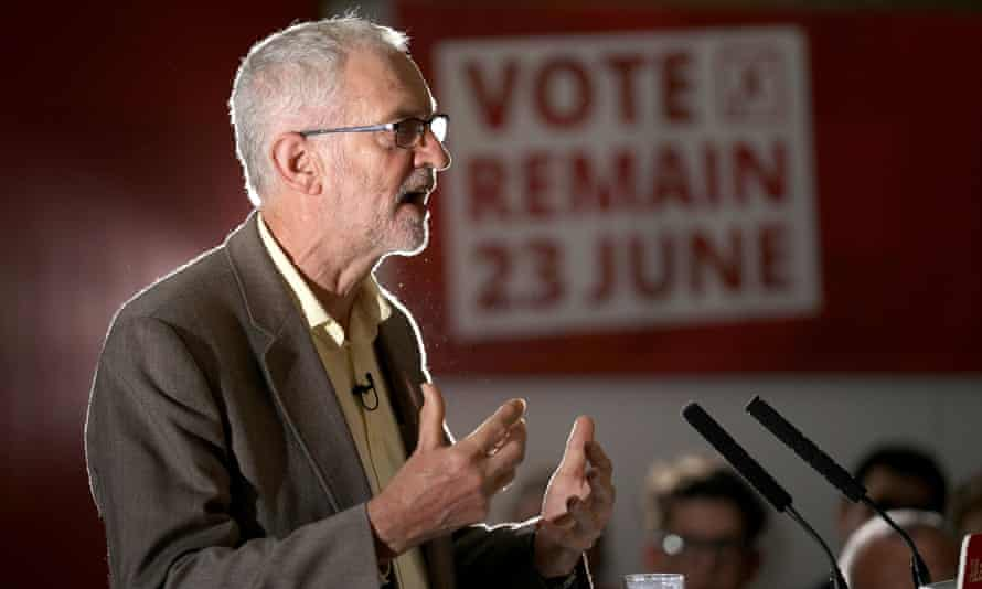 The Labour leader, Jeremy Corbyn, makes a speech just before the Brexit referendum in June 2016.