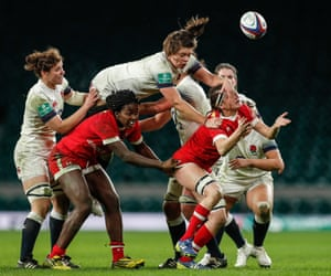 Action from the England v Canada women's rugby match at Twickenham, London, on 25 November 2017