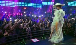 Cardi B performs during the grand opening of KAOS dayclub and nightclub at Palms Casino Resort in Las Vegas, Nevada, on 6 April.