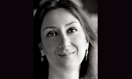 Black and white portrait of Daphne Caruana Galizia