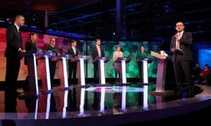 The seven party representatives with the BBC presenter Nick Robinson