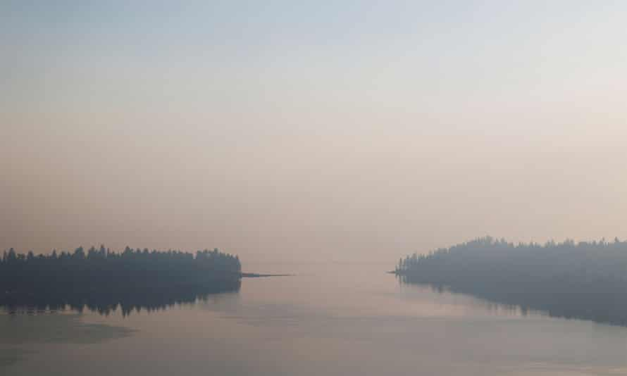 A view from Emerald Bay towards Lake Tahoe is obscured by smoke from the Caldor fire on Monday.