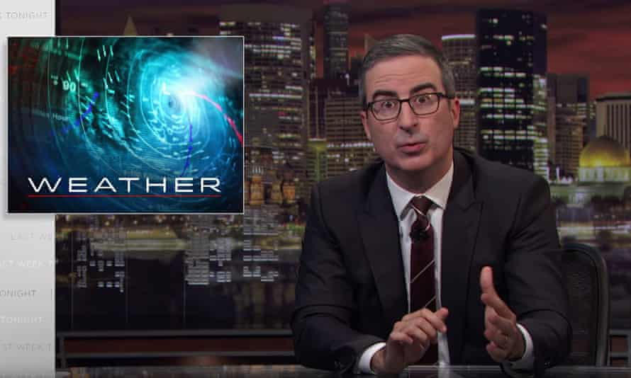 """John Oliver: """"Think of it like this: National Weather Service data is to a weather forecast what fresh wolverine meat is to Hormel chili. You can't make one without the other — it's the dominant ingredient there."""""""
