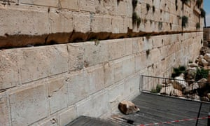 A section of the Western Wall where one of the stones dislodged and crashed into the prayer area.