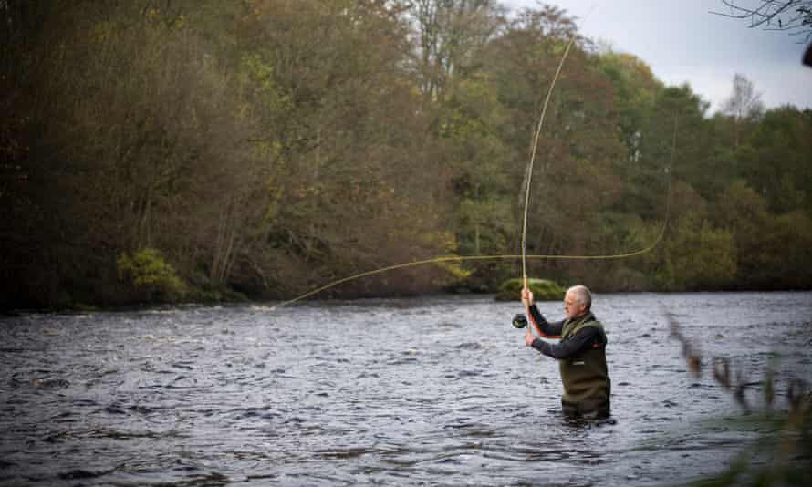 Salmon fishing on the Tyne at Bellingham, Northumberland, UK