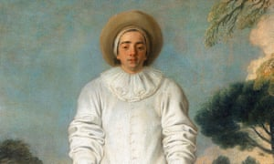 """""""'Gilles - Pierrot', 1718-1719. Artist: Jean-Antoine Watteau<br>'Gilles - Pierrot', 1718-1719. Pierrot (Pedrolino in the original Italian Commedia dell'Arte), the na?ve, unsuccessful lover, played in a baggy white satin suit and whitened, unmasked face. The other four figures are the Doctor (masked) on ass, Leandre, Isabelle and the Captain. From the collection of the Louvre, Paris. (Photo by Art Media/Print Collector/Getty Images)"""""""