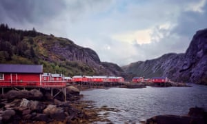 Traditional red fisherman's cottages in the Lofoten islands.