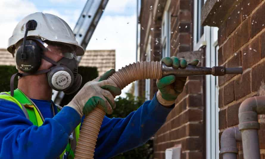 Cavity wall insulation is being installed in a home