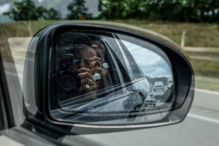 shaky view of car mirror