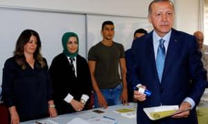 Recep Tayyip Erdoğan at a polling station on Sunday
