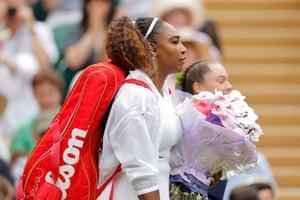 Serena Williams arrives on Centre Court.
