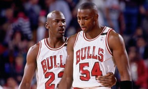 Michael Jordan left and teammate Horace Grant of the Chicago Bulls during the 1992 NBA Playoffs.