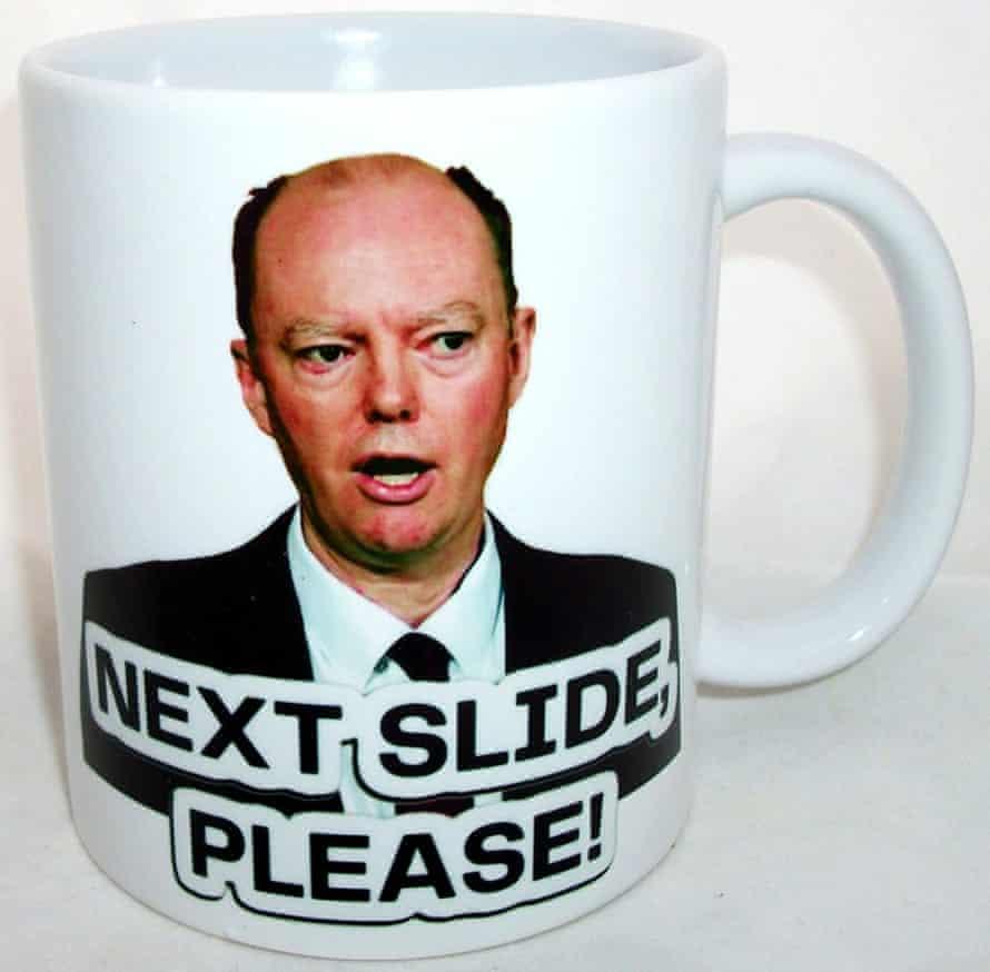 A Chris Whitty 'Next Slide Please' mug.