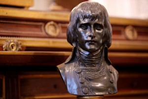 A bronze bust by Louis-Simon Boizot of Napoleon in a uniform decorated with laurel leaves