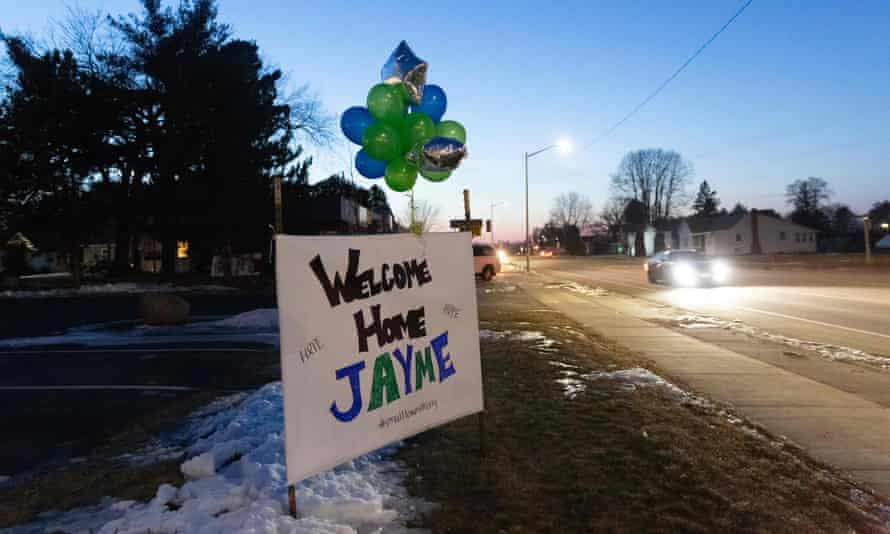 A sign displayed for Jayme Closs in Barron, Wisconsin.
