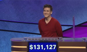 James Holzhauer on an episode of Jeopardy! that aired on 17 April 2019.
