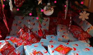 Presents wrapped under a Christmas tree