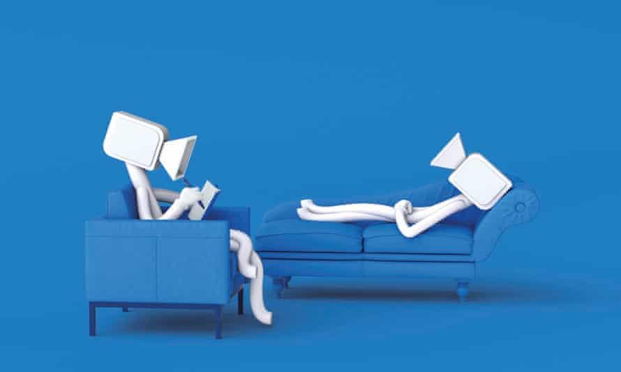 Robots on sofa