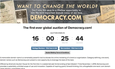 The auction information for democracy.com.