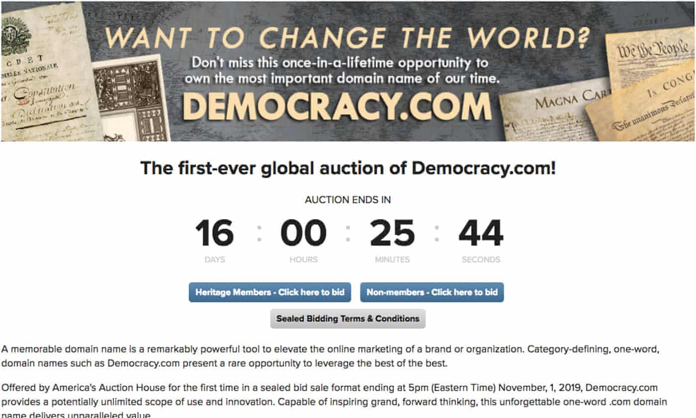 Who will be the new owner of democracy.com? Domain to go on sale
