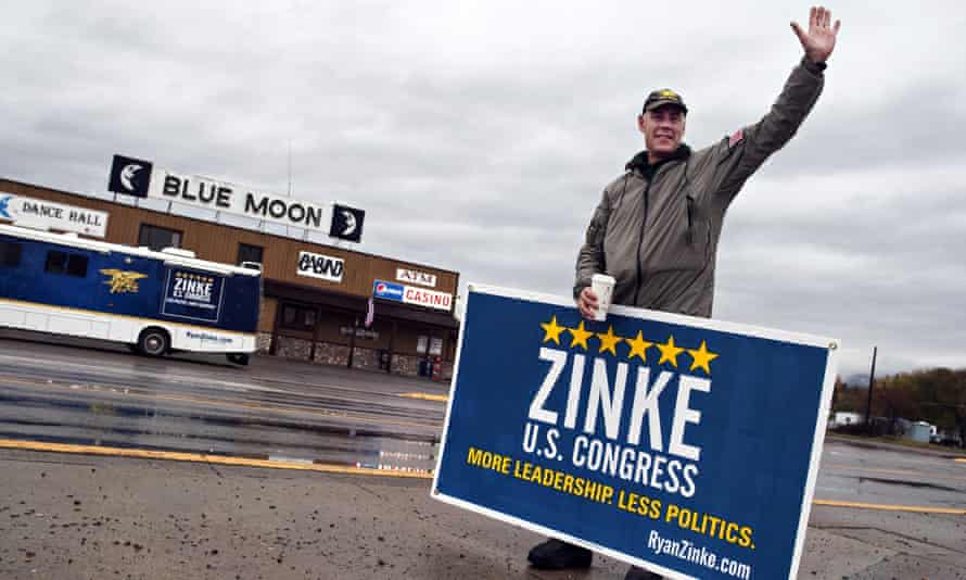 Ryan Zinke waves to supporters in Columbia Falls, Montana in November 2014.