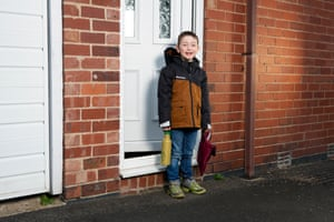 Kay Watkins, 6, on his first day back at school. Kay goes to Mundella Primary School in Sheffield.