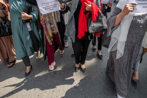 Protesters outside the former ministry of women's affairs in Kabul, Afghanistan