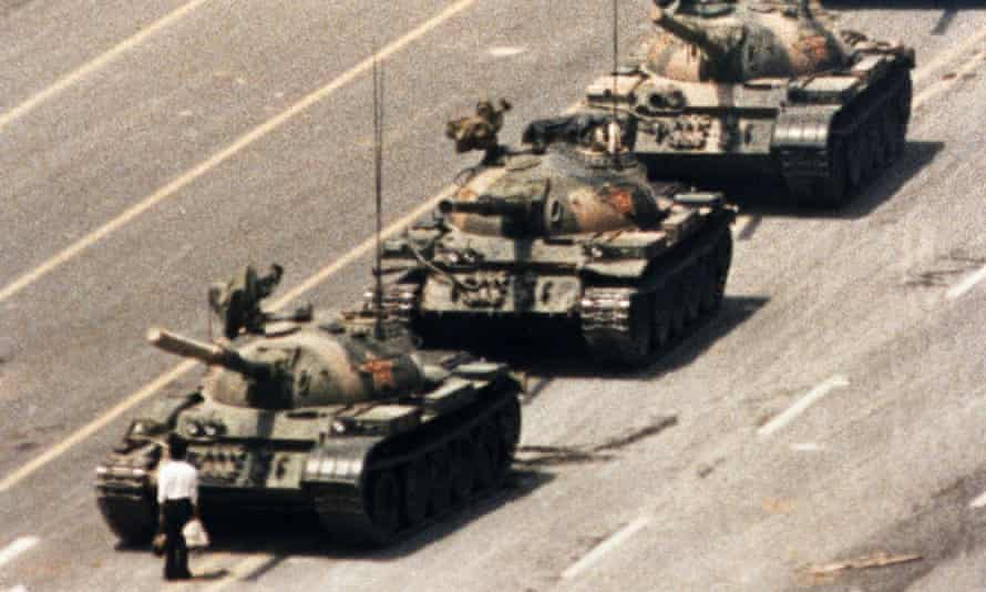 The moment the lone protester braved the tanks.