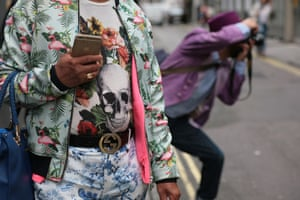 Multi-trend: Bomber, florals, skulls, gold iPhone and vintage Gucci in Soho