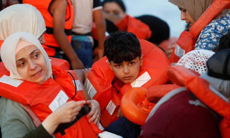 Migrants aboard a German rescue ship off the coast of Libya