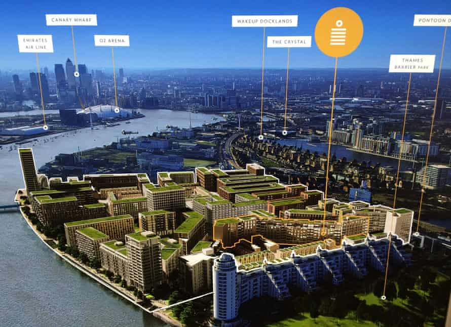A poster for the new Royal Wharf development in London, E16 at a recent property show in Hong Kong