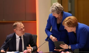 Theresa May with Germany's chancellor, Angela Merkel and European Council president, Donald Tusk.