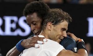 Rafael Nadal embraces France's Gaél Monfils