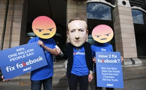 An anti-Facebook protest in London.
