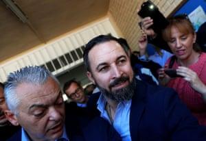Vox's leader, Santiago Abascal, leaves after casting his vote on Sunday.
