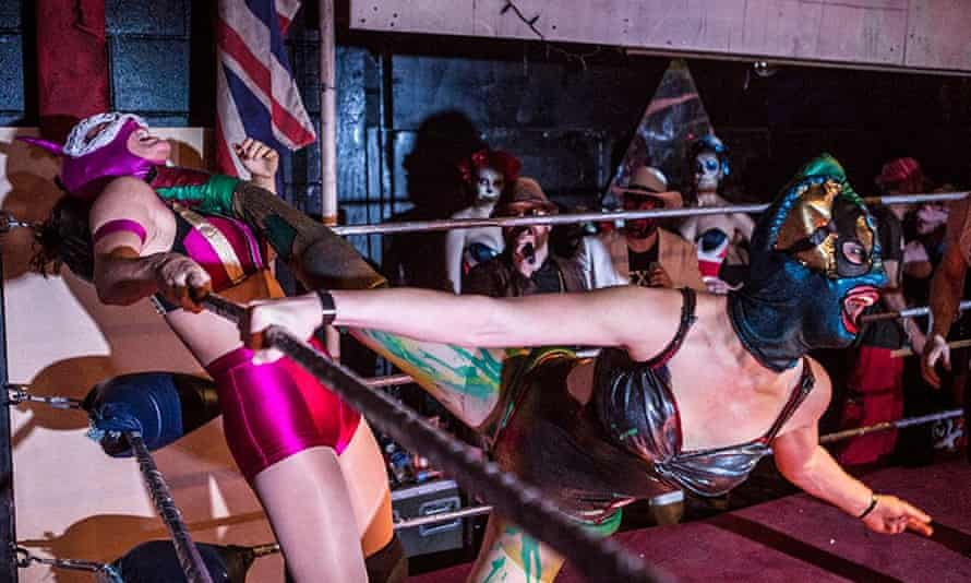 Heather Bandenburg (right) in action: 'Women's wrestling has been dragged through every form of titillation you can imagine.'