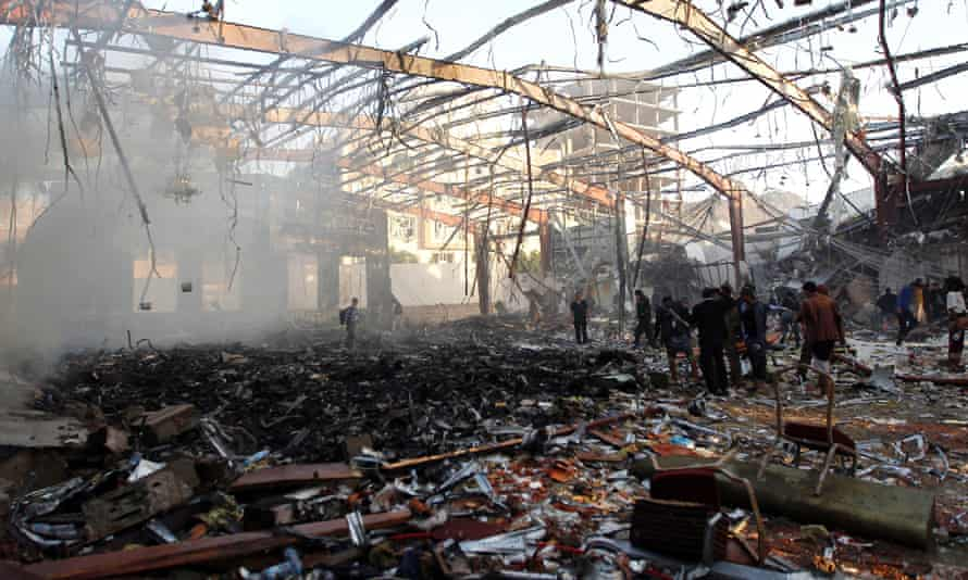 The aftermath of the airstrike on a funeral hall in Sana'a on 8 October.