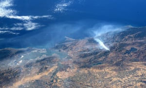 Zoomed out. This undated handout image courtesy of NASA and taken by astronaut Andrew Morgan aboard the International Space Station, shows smoke from the Kincade fire in Sonoma county, northern California. San Francisco is to the left. The Kincade fire has damaged 120 square miles.