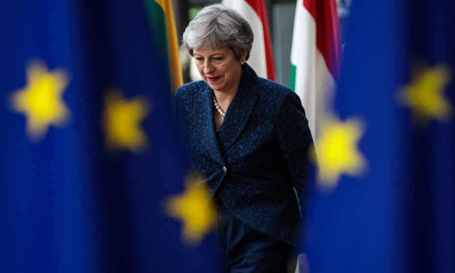 Theresa May in Brussels.
