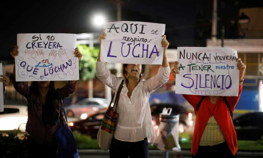 Women at a protest against femicides in San Salvador, El Salvador March 29, 2019.