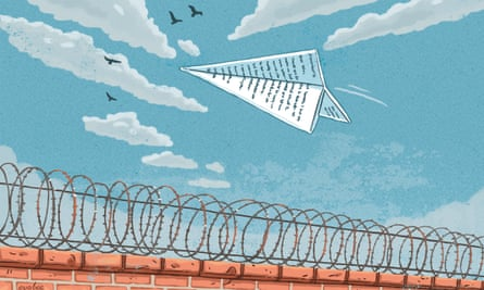An illustration of a letter folded as an aeroplane flying over barbed wire on top of a brick wall, with a pale blue sky and fluffy clouds and birds above