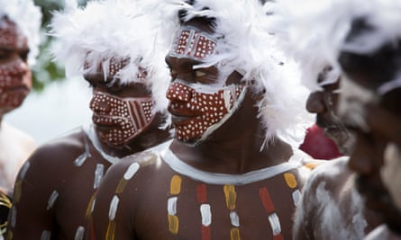 Members of the Rirratjingu clan painted in traditional colours perform ceremonial bunggul (dances) at the 17th annual Garma in north-east Arnhem Land.